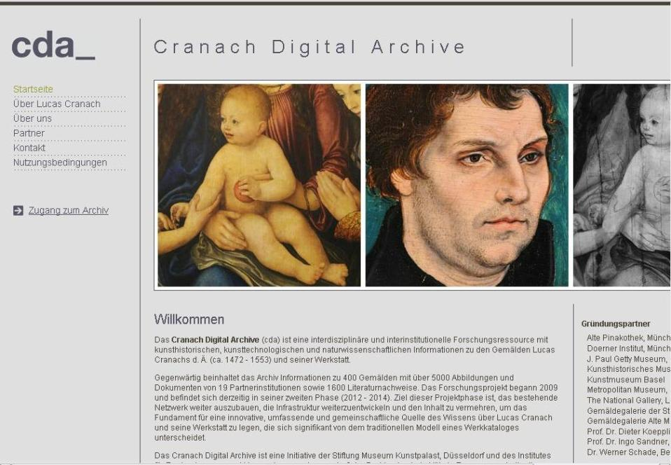 Screenshot Cranach Digital Archiv