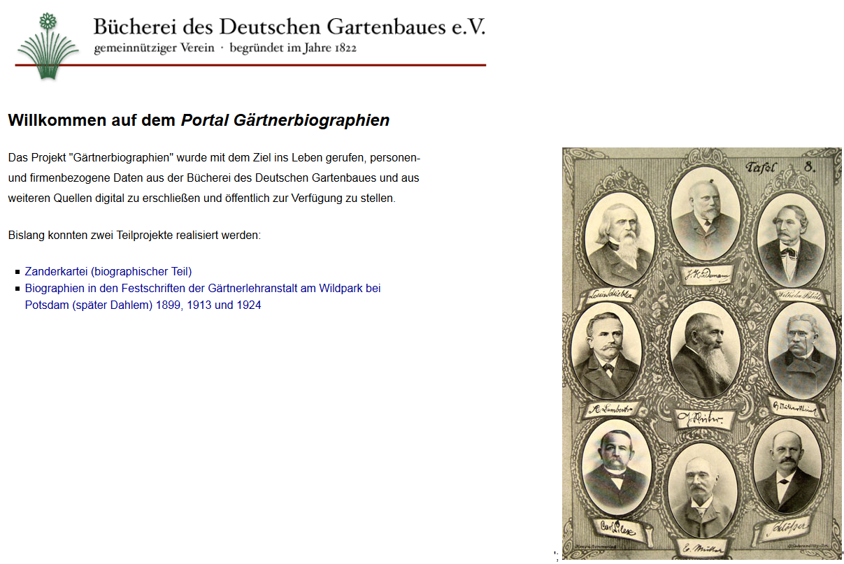 Website des Portal Gärtnerbiographien