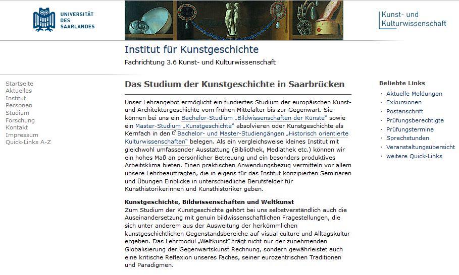 Universität des Saarlandes Saarbrücken :: Portal Kunstgeschichte ...