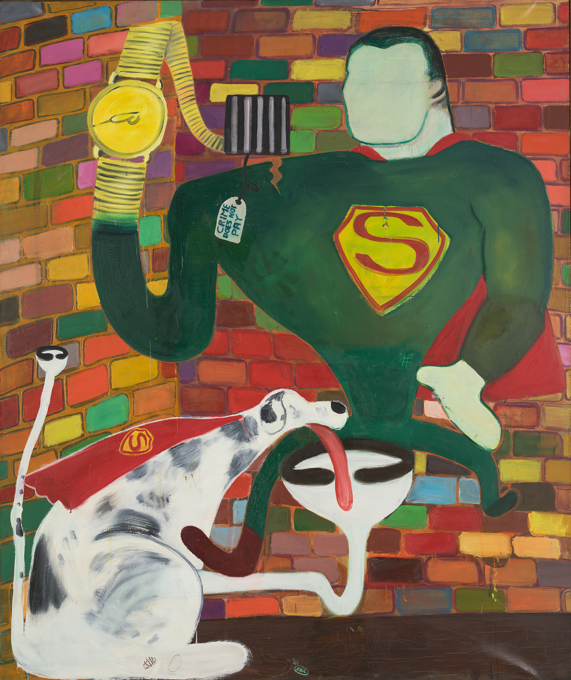 Peter Saul, Superman and Superdog in Jail, 1963 © Peter Saul, Foto: Farzad Owrang